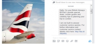 British Airways personal Facebook Messenger Bot