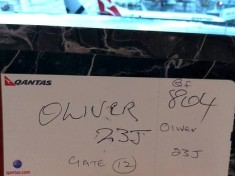 QANTAS hand written boarding pass