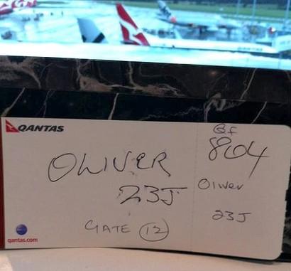 QANTAS hand written boarding pass
