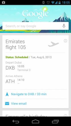 Emirates has launched Google Now