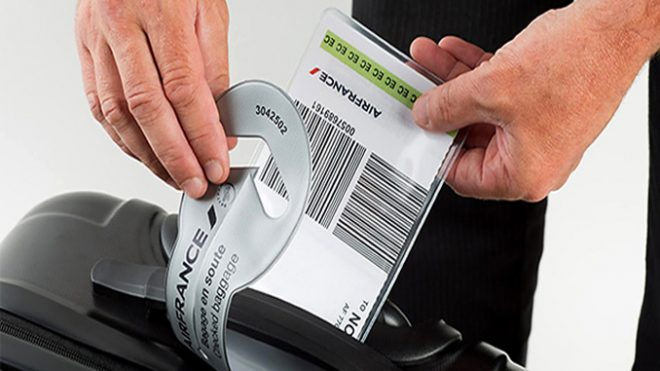 Self print bag tag on Air France