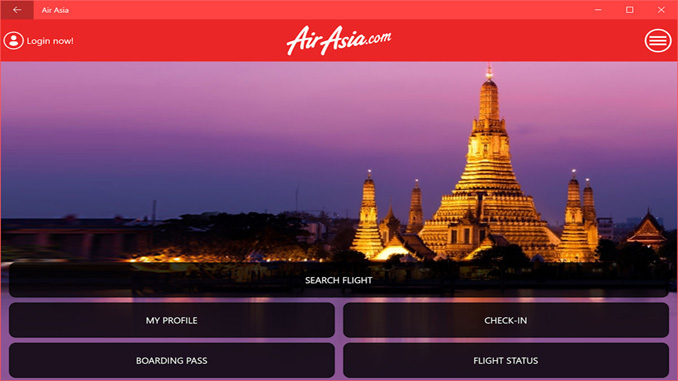Air Asia universal app for Windows 10 devices