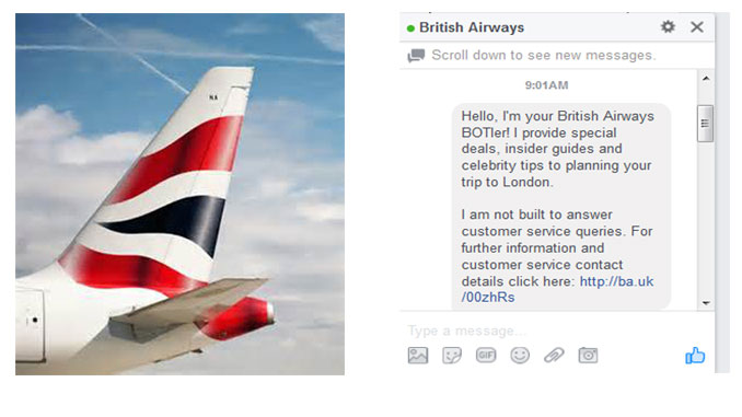 British Airways personal Facebook Messenger Bot