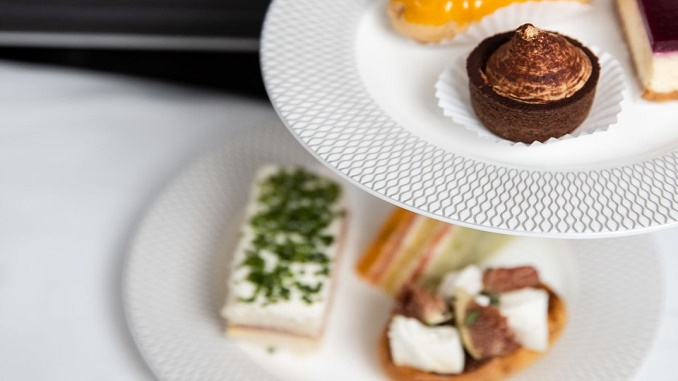 British Airways First afternoon tea