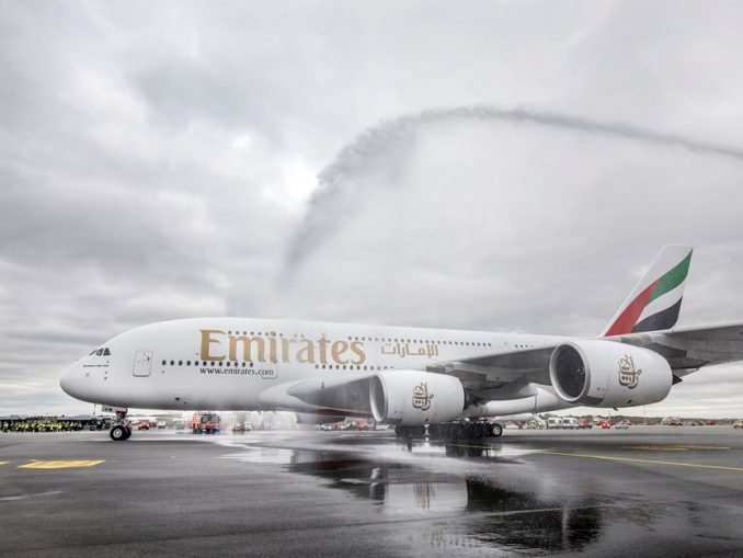 Emirates A380 at Hamburg