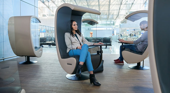 """Frankfurt Airport's """"Silent Chairs"""" offer relaxation for transfer passengers"""