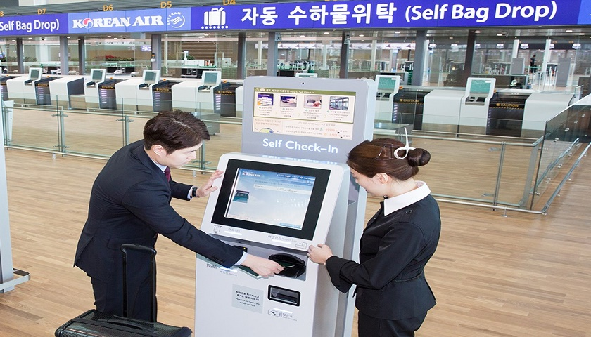 Korean Air says 70% of Economy Class passengers at Incheon used self-check-in in August.