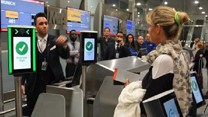 Lufthansa biometric boarding at MIA