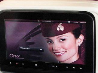 Qatar Airways Oryx entertainment screen
