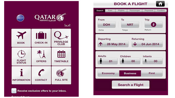 Qatar Airways enhances its mobile app