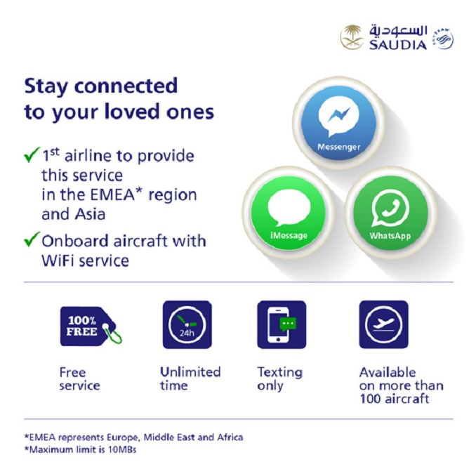 Saudia inflight texting