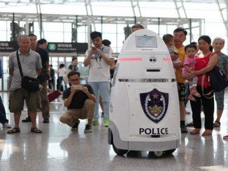Robot starts work at Shenzhen security