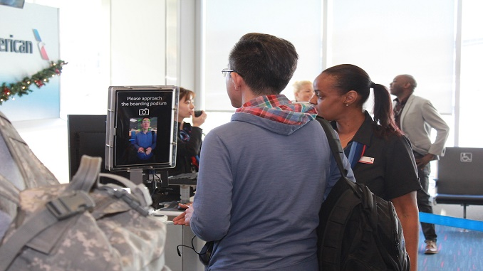 American Airlines biometric boarding at LAX