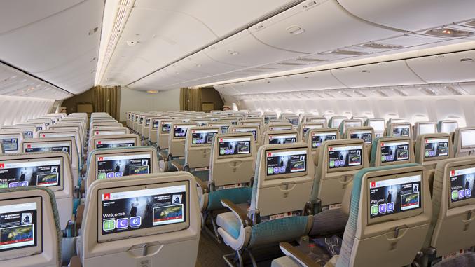 Emirates 777-300ER economy cabin