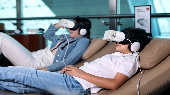 Emirates headsets in lounge