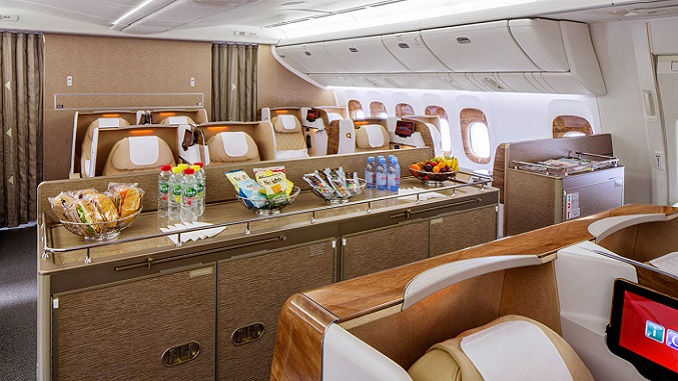 Emirates new B777 refreshment area
