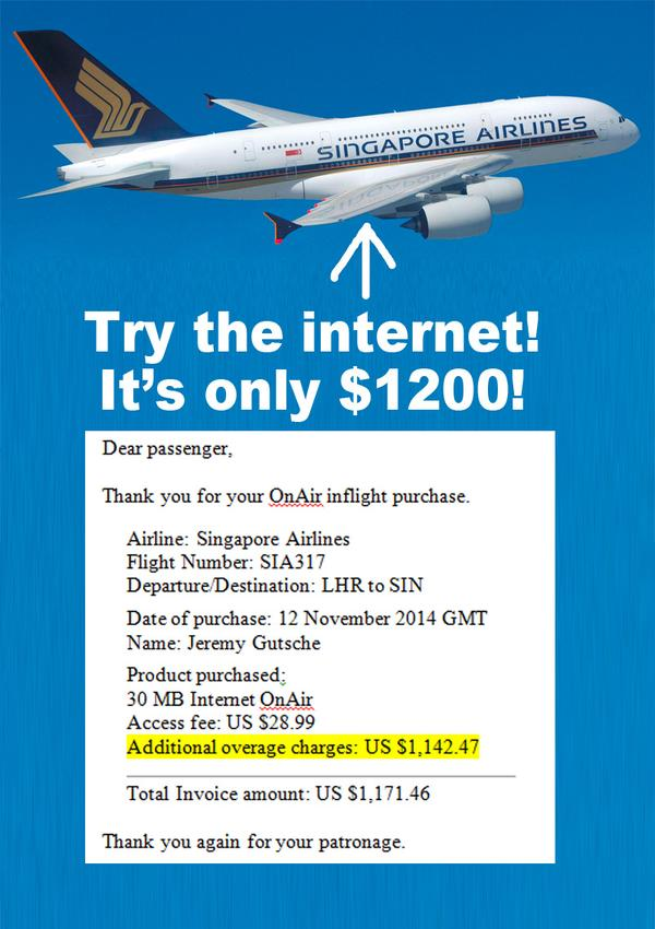 Singapore passenger gets USD 1,171.46 bill for inflight Wi-Fi