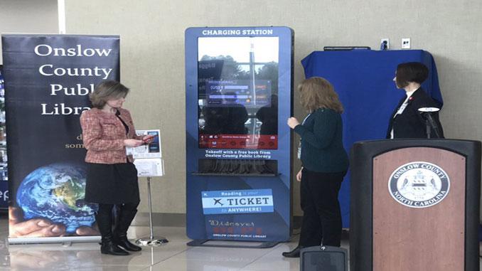Digital library kiosk opens at North Carolina airport