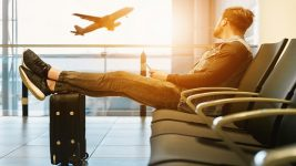 man at boarding gate